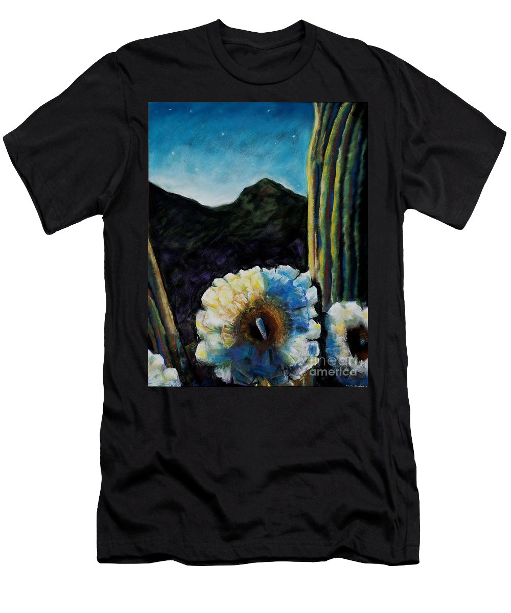 Desert Men's T-Shirt (Athletic Fit) featuring the painting Saguaro In Bloom by Frances Marino