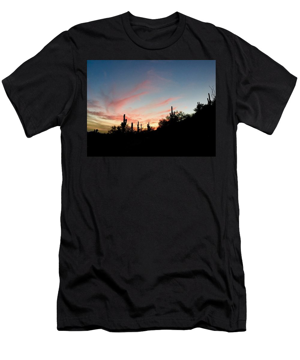 Saguaro Men's T-Shirt (Athletic Fit) featuring the photograph Saguaro Sunset Silhouette by Marie Webb