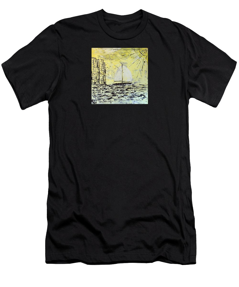 Abstract Men's T-Shirt (Athletic Fit) featuring the painting Sail And Sunrays by J R Seymour