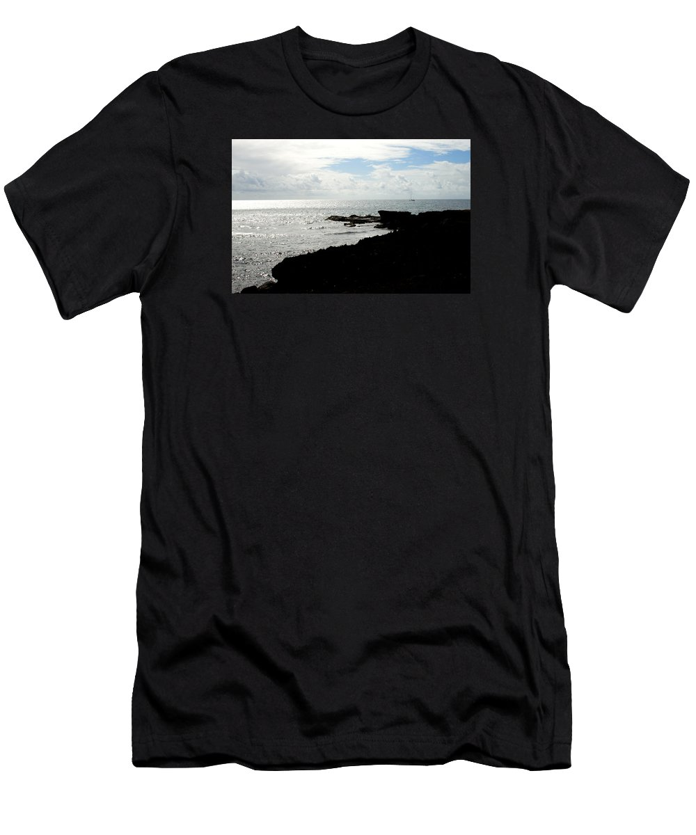 Sailboat Men's T-Shirt (Athletic Fit) featuring the photograph Sailboat At Point by Jean Macaluso
