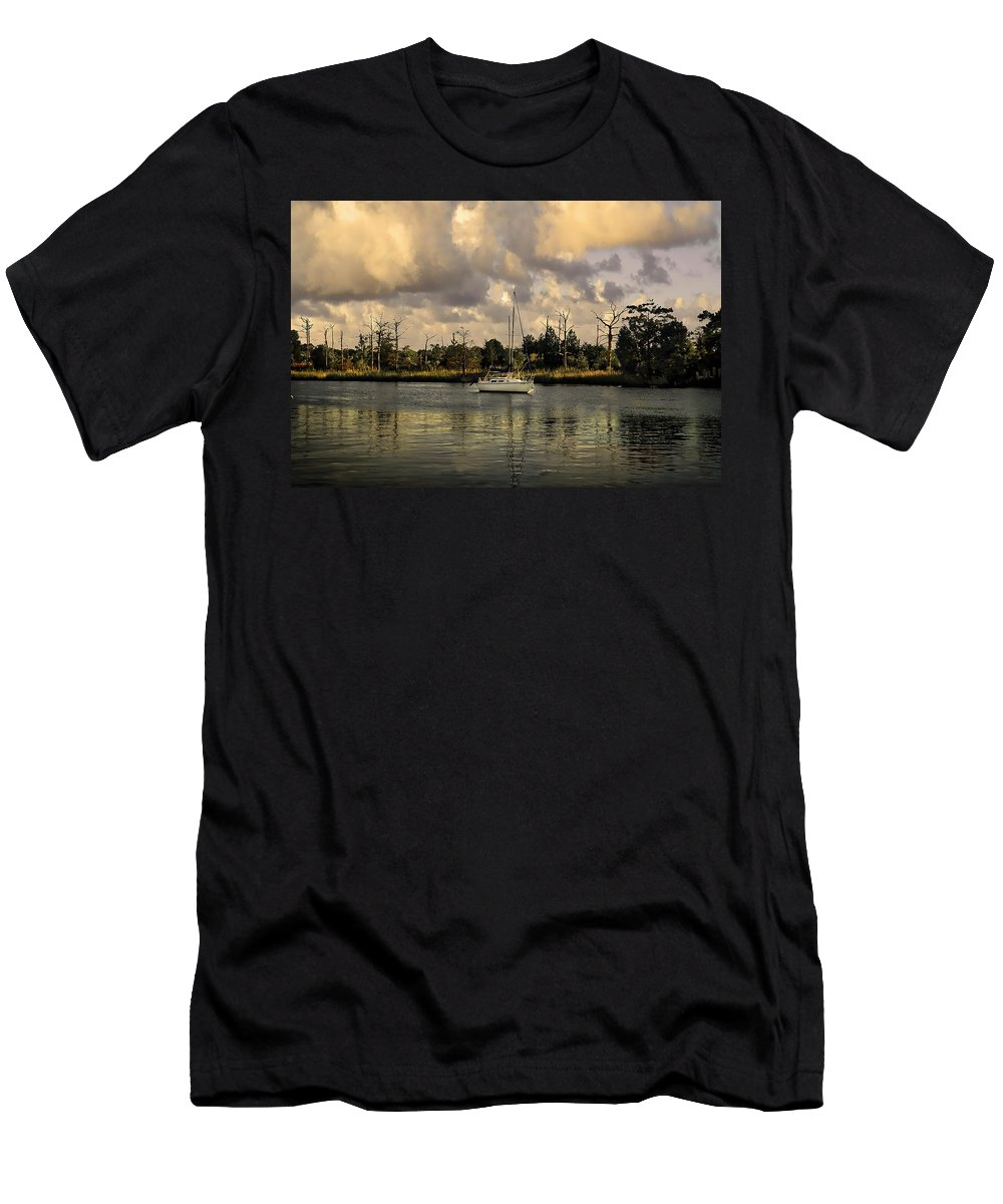 Sailboat Men's T-Shirt (Athletic Fit) featuring the photograph Sailboat In Georgetown by TJ Baccari