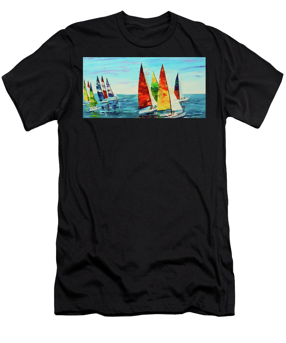 Caribbean House Men's T-Shirt (Athletic Fit) featuring the painting Sailboat Race by Kevin Brown