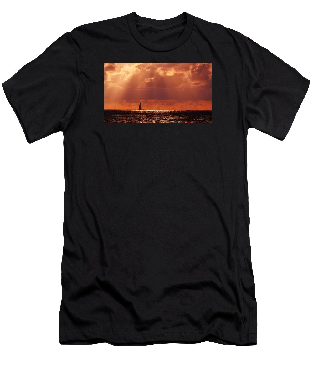 Sail Men's T-Shirt (Athletic Fit) featuring the photograph Sailboat Sun Rays by Lawrence S Richardson Jr