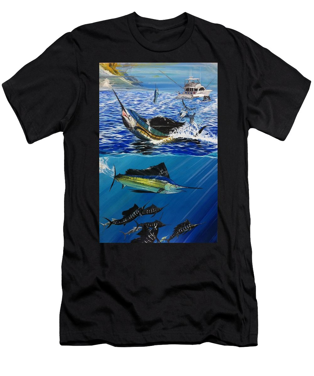 Self-taught Painting. Men's T-Shirt (Athletic Fit) featuring the painting Sailfish In Costa Rica by Minamoto Yoshida