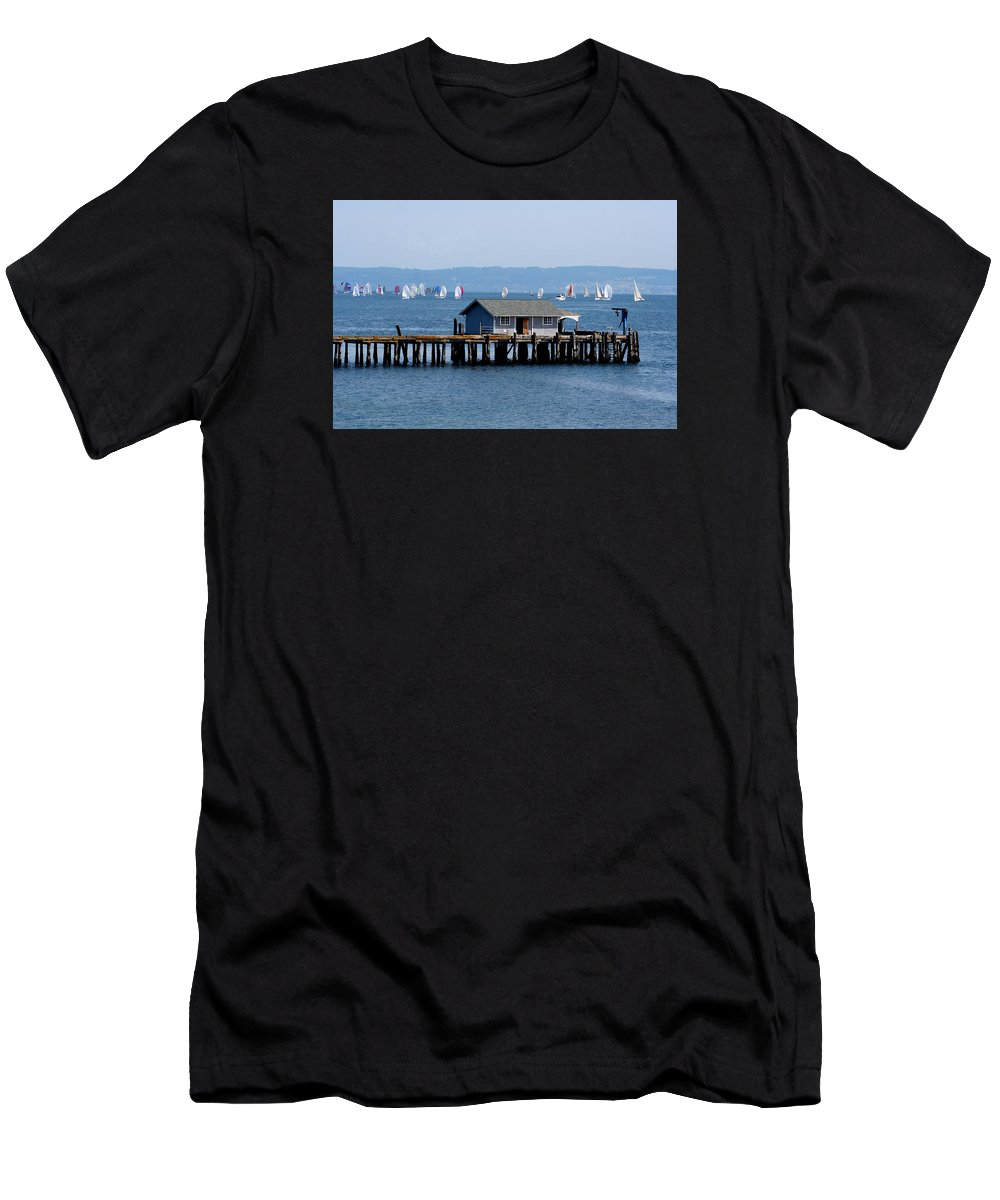 Penncove Men's T-Shirt (Athletic Fit) featuring the photograph Sailing At Penn Cove by Mary Gaines