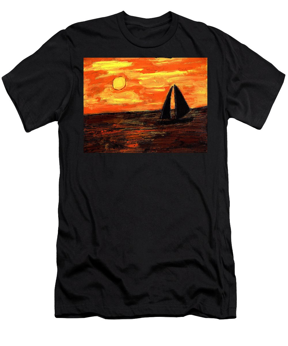 Sailing Men's T-Shirt (Athletic Fit) featuring the painting Sailing Home At Sunset by Wayne Potrafka