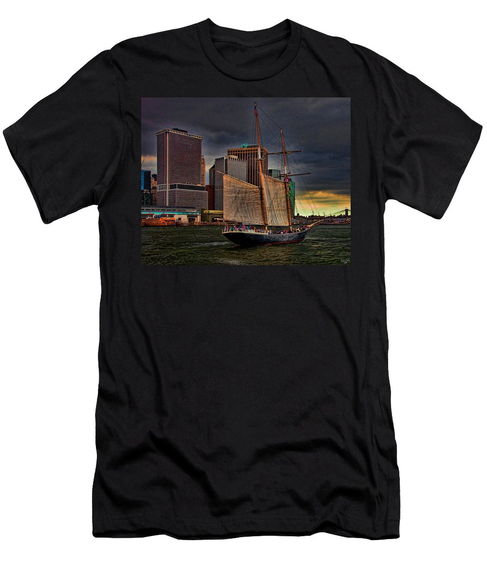 New York Men's T-Shirt (Athletic Fit) featuring the photograph Sailing On The East River by Chris Lord