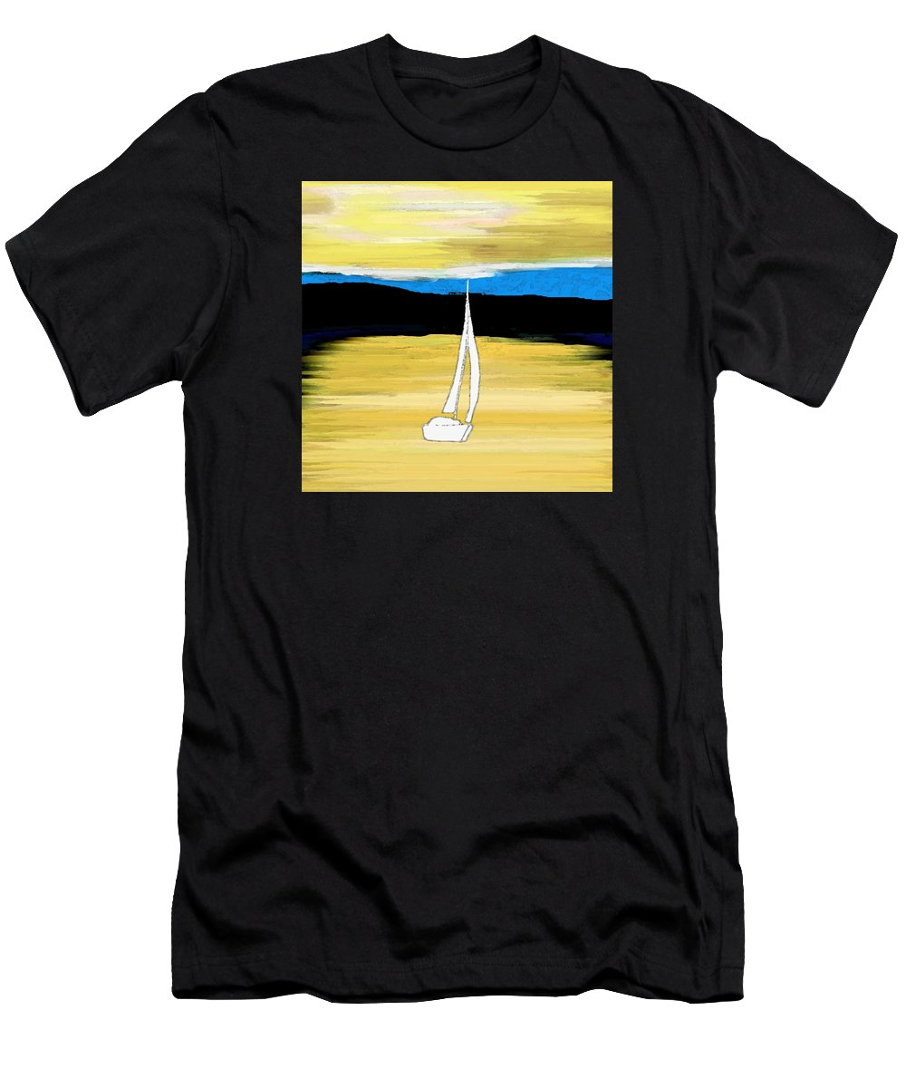 Sailing Sunset Men's T-Shirt (Athletic Fit) featuring the painting Sailing Sunset by Priscilla Wolfe