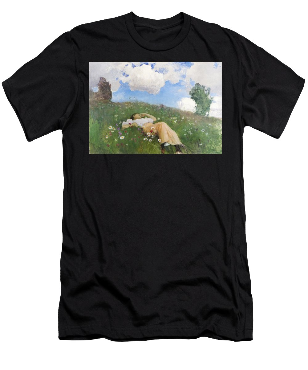 Eero J�rnefelt (1863-1937) Saimi In The Meadow Men's T-Shirt (Athletic Fit) featuring the painting Saimi In The Meadow by MotionAge Designs