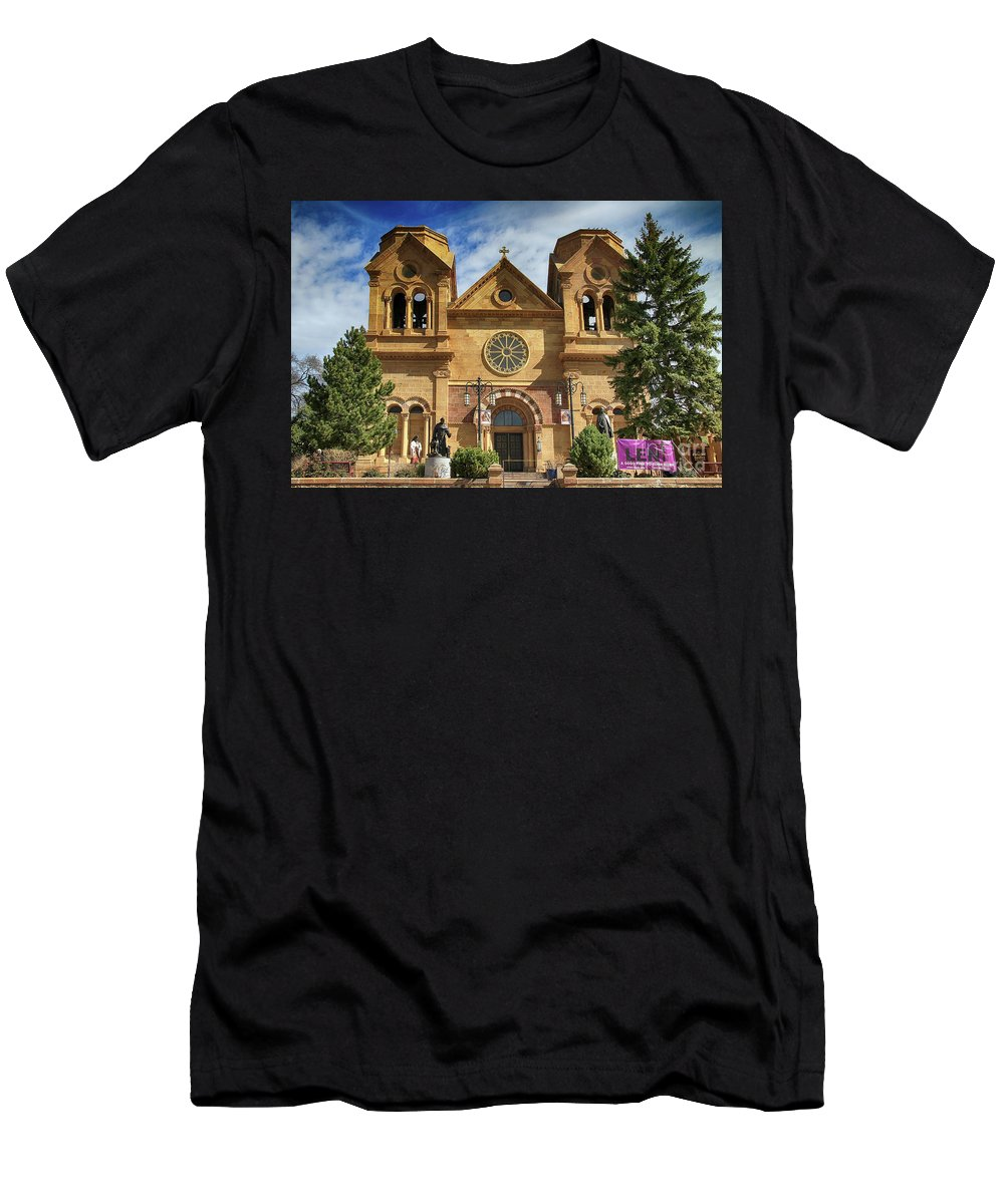 Cathedral Men's T-Shirt (Athletic Fit) featuring the photograph Saint Francis Cathedral by Teresa Zieba