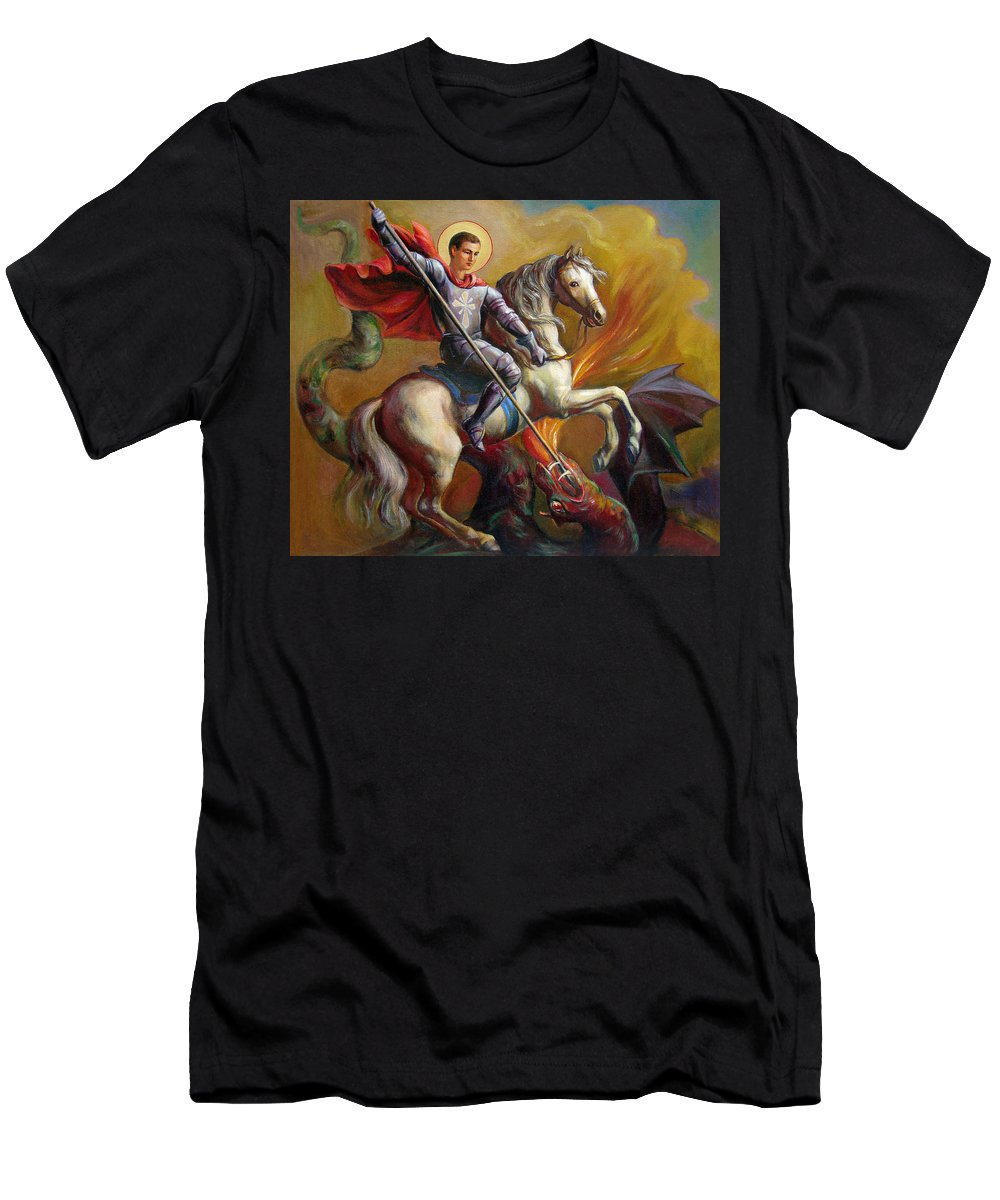 Saint George Men's T-Shirt (Athletic Fit) featuring the painting Saint George And The Dragon by Svitozar Nenyuk