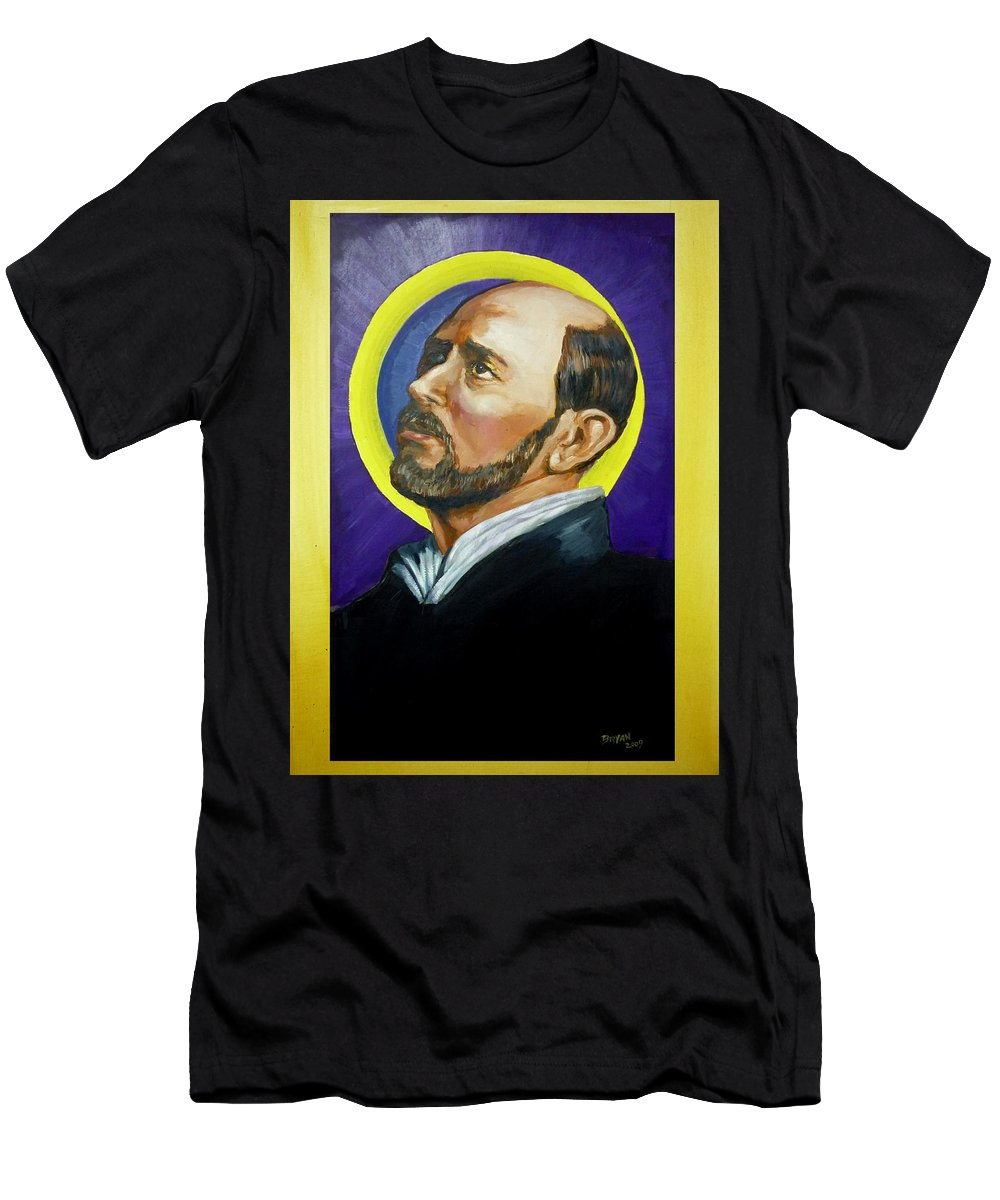 Saint Men's T-Shirt (Athletic Fit) featuring the painting Saint Ignatius Loyola by Bryan Bustard