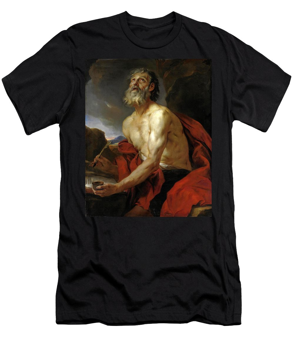 Attributed To Pierre Subleyras Men's T-Shirt (Athletic Fit) featuring the painting Saint Jerome by Attributed to Pierre Subleyras