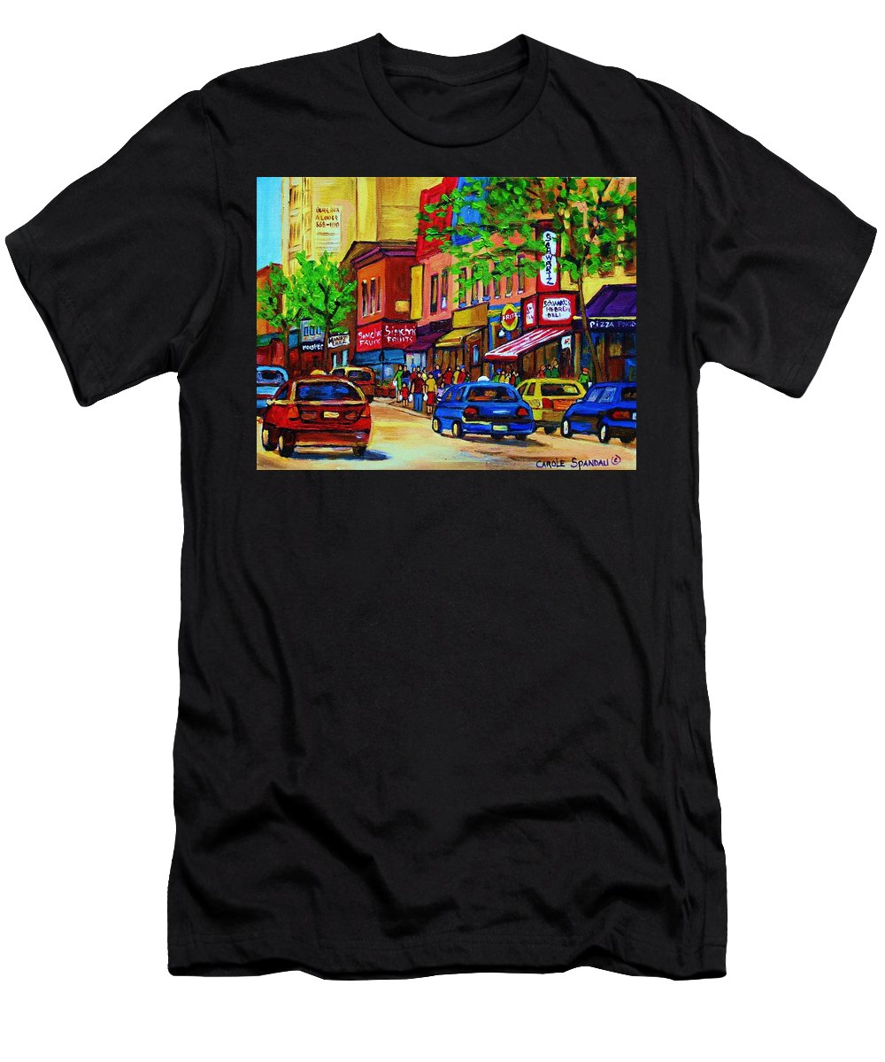 Cityscape Men's T-Shirt (Athletic Fit) featuring the painting Saint Lawrence Street by Carole Spandau