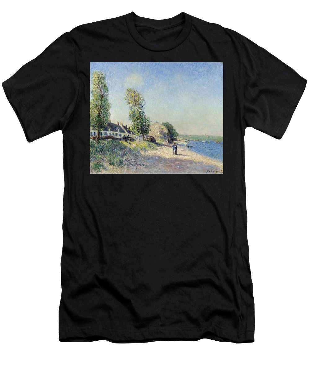 Saint-mammes At Morning Men's T-Shirt (Athletic Fit) featuring the painting Saint Mammes At Morning by MotionAge Designs
