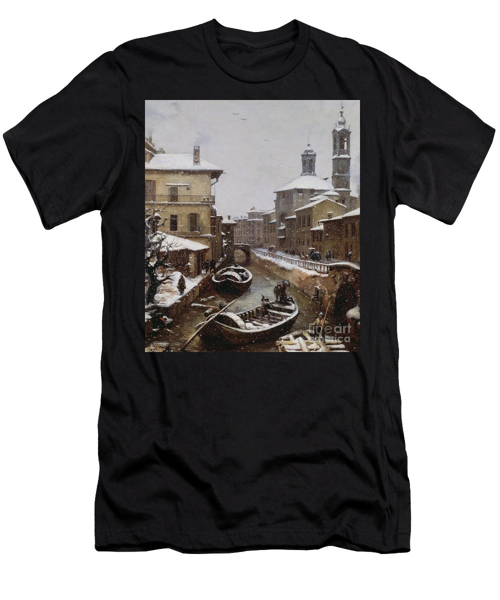 Venetian Men's T-Shirt (Athletic Fit) featuring the painting Saint Sophia Canal Covered In Snow by Angelo Inganni