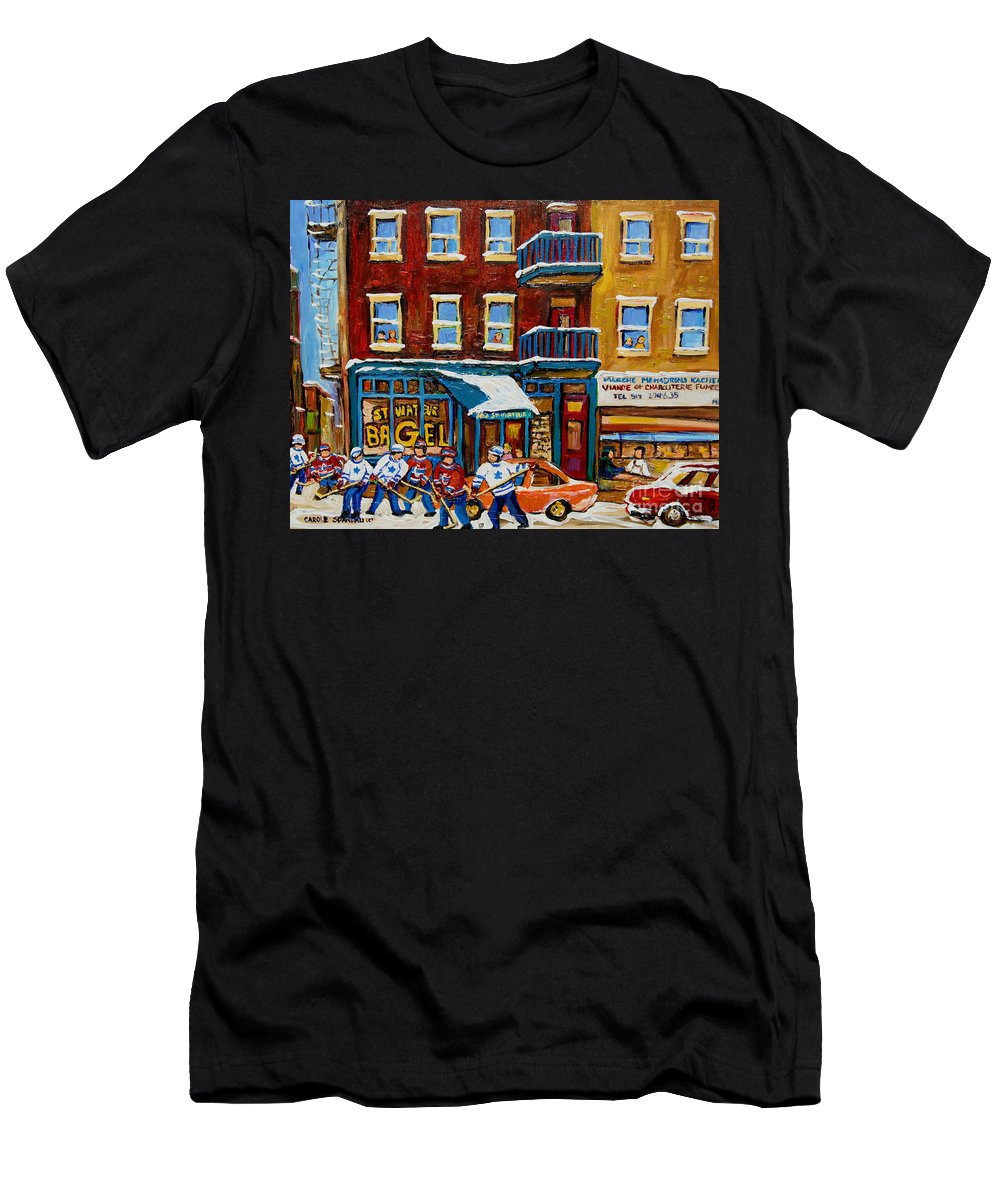 Montreal T-Shirt featuring the painting Saint Viateur Bagel With Hockey by Carole Spandau