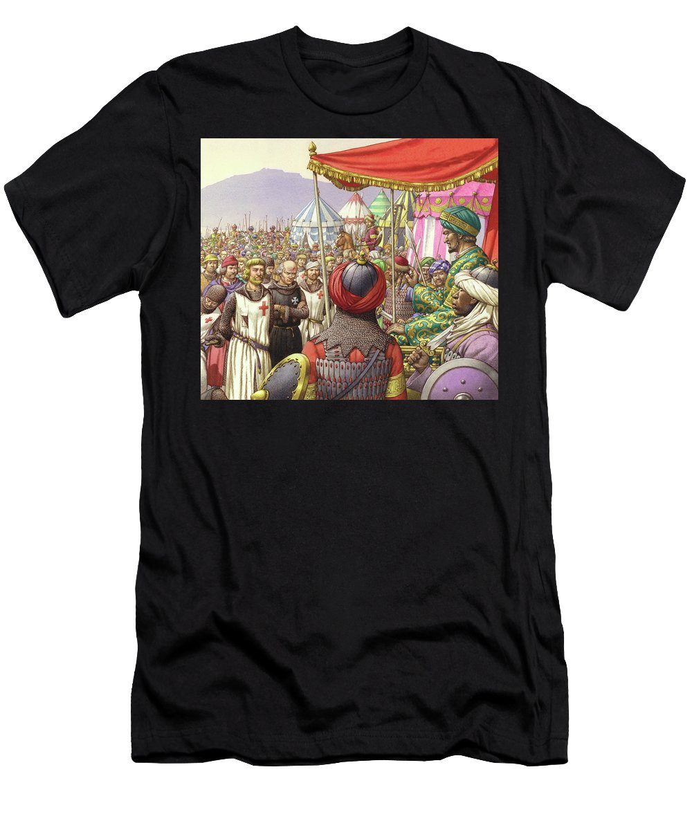 Saladin Men's T-Shirt (Athletic Fit) featuring the painting Saladin Orders The Execution Of Knights Templars And Hospitallers by Pat Nicolle
