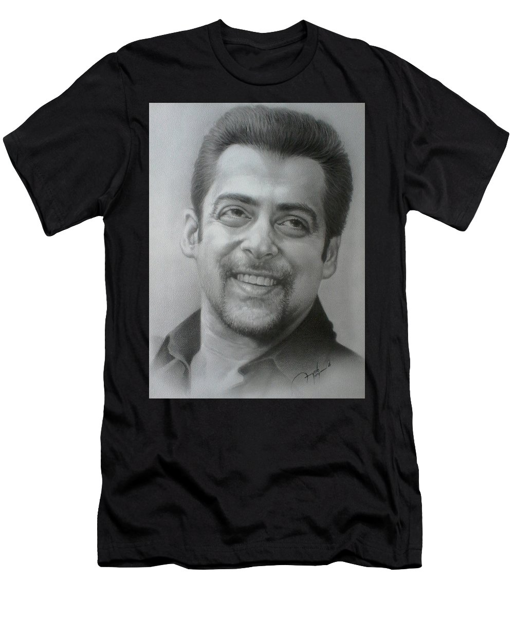 Bollywood Men's T-Shirt (Athletic Fit) featuring the drawing Salman by Ayub Majeed