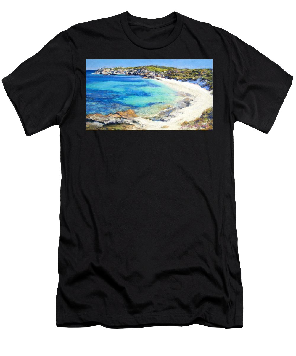 Bay Men's T-Shirt (Athletic Fit) featuring the painting Salmon Bay by Linda O'Brien