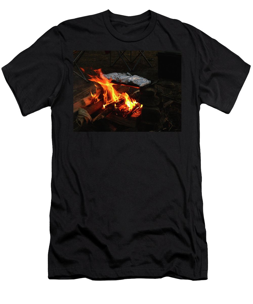 Foil Men's T-Shirt (Athletic Fit) featuring the photograph Salmon On The Fire by Elizabeth Jeffries