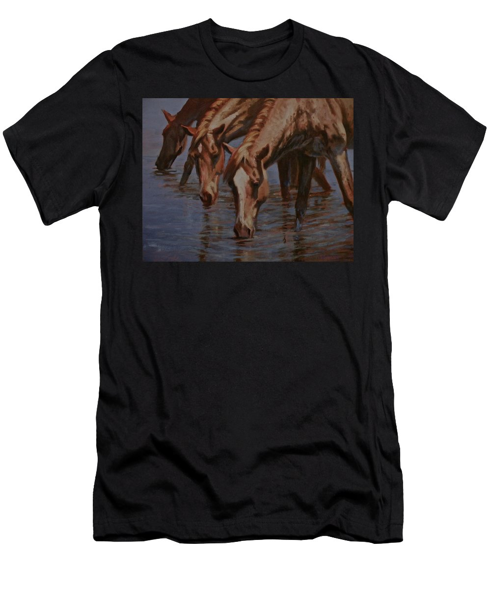 Horses Men's T-Shirt (Athletic Fit) featuring the painting Salt River Redheads by Mia DeLode