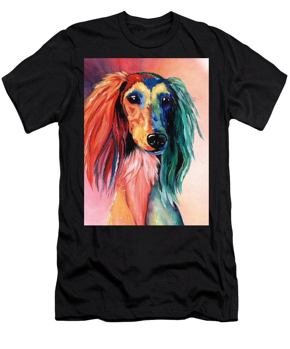 Saluki Men's T-Shirt (Athletic Fit) featuring the painting Saluki Sunset by Kathleen Sepulveda