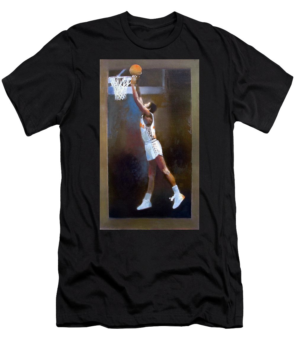 Men's T-Shirt (Athletic Fit) featuring the mixed media Sam Mitchell Nba Player Head Coach Toronto Raptors by Anne Lattimore