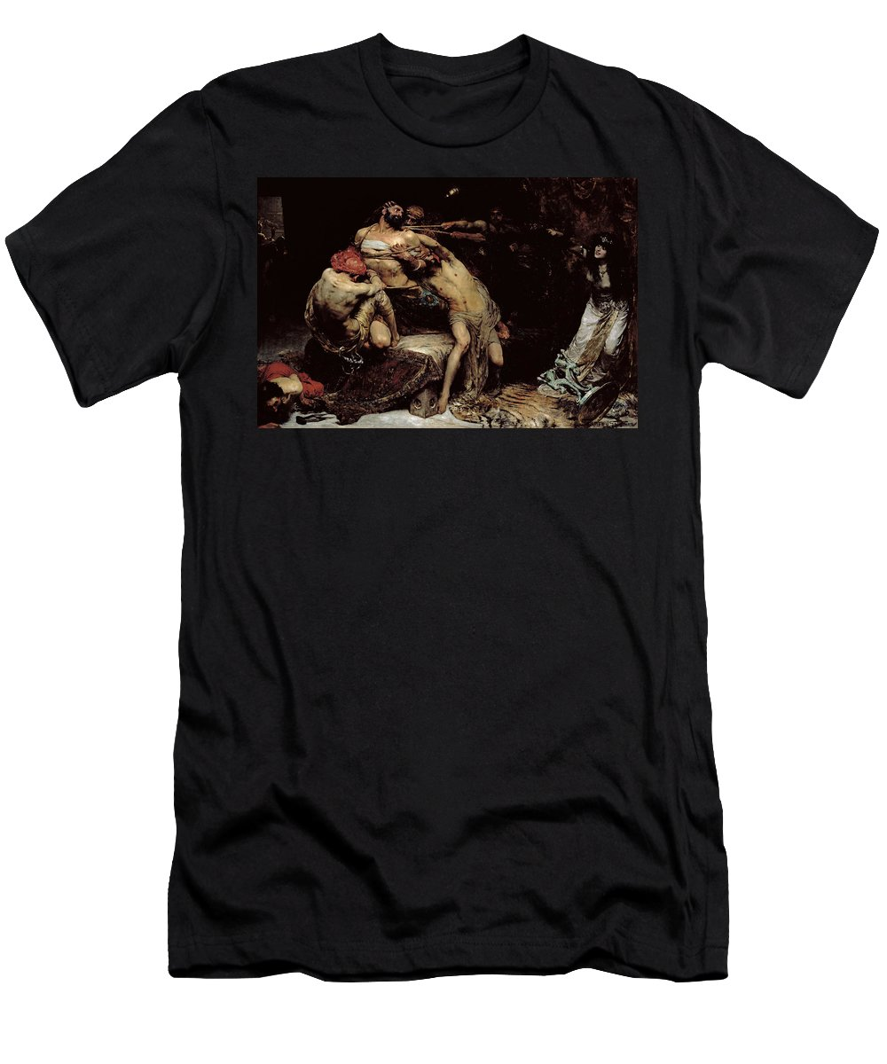 Bound; Philistines; Philistine; Delilah; Rope; Cutting Hair; Strength; Struggle; Dramatic; Dalila; Samson Men's T-Shirt (Athletic Fit) featuring the painting Samson by Solomon Joseph Solomon