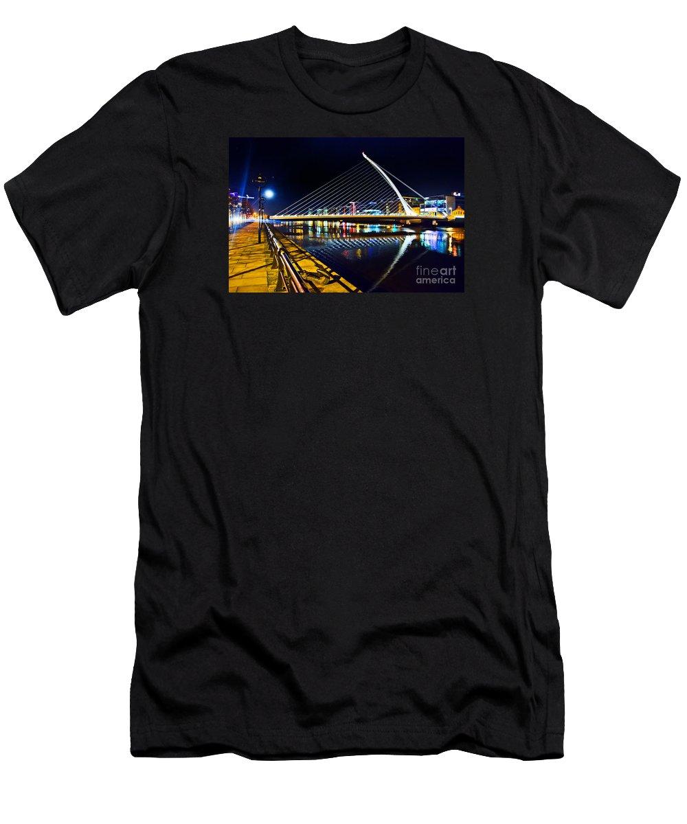 Samuel Beckett Bridge Men's T-Shirt (Athletic Fit) featuring the photograph Samuel Beckett Bridge 5 by Alex Art and Photo