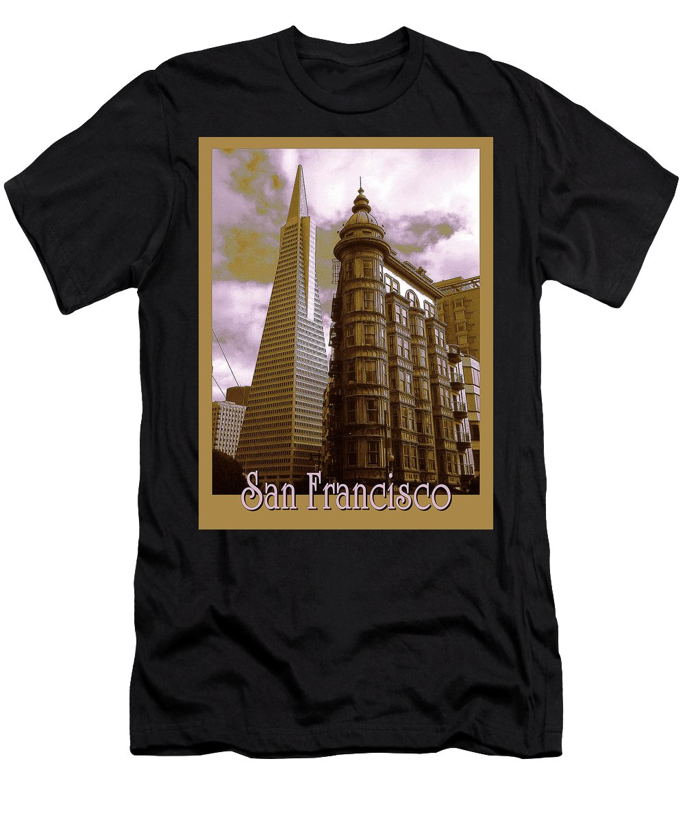 San+francisco Men's T-Shirt (Athletic Fit) featuring the photograph San Francisco Architecure Poster by Peter Potter