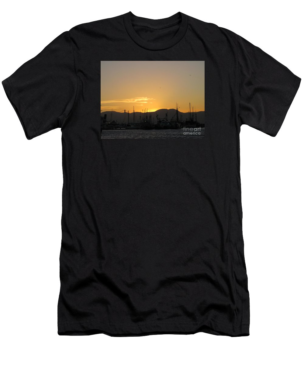 San Francisco Men's T-Shirt (Athletic Fit) featuring the photograph San Francisco Bay Sunset by Marta Robin Gaughen