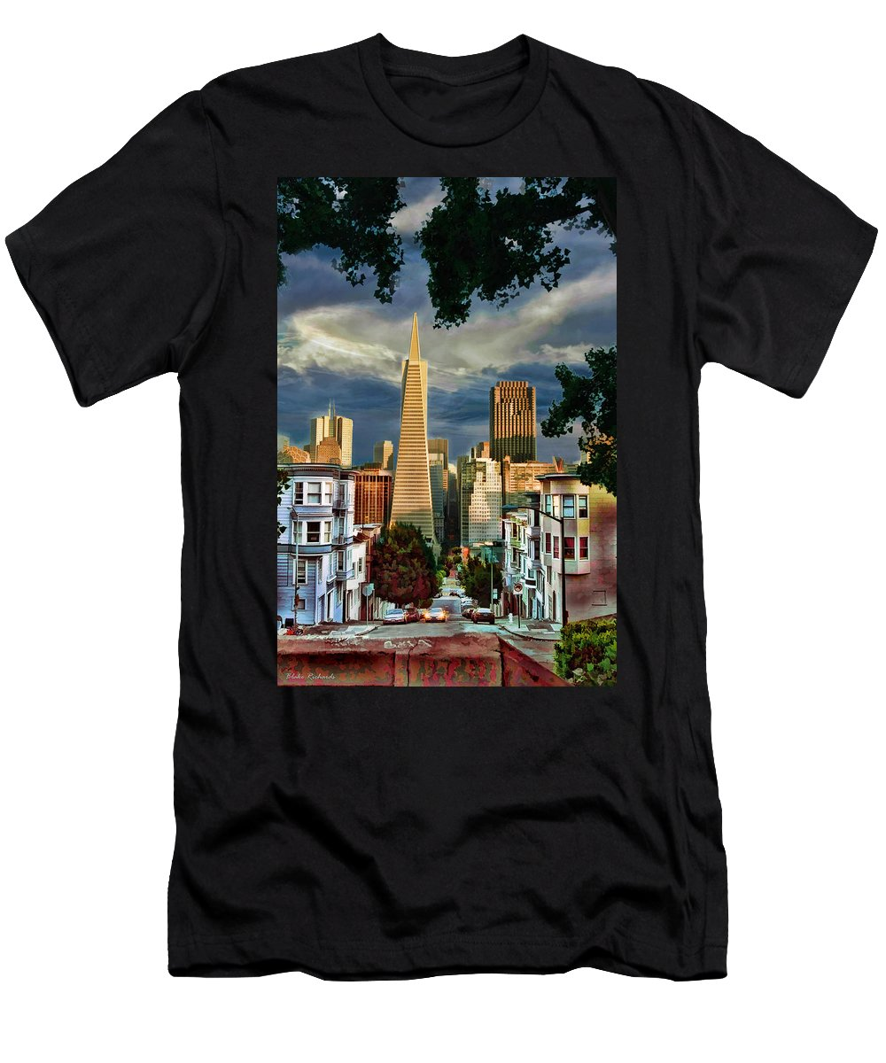 Art Photography Men's T-Shirt (Athletic Fit) featuring the photograph San Francisco Cliff by Blake Richards