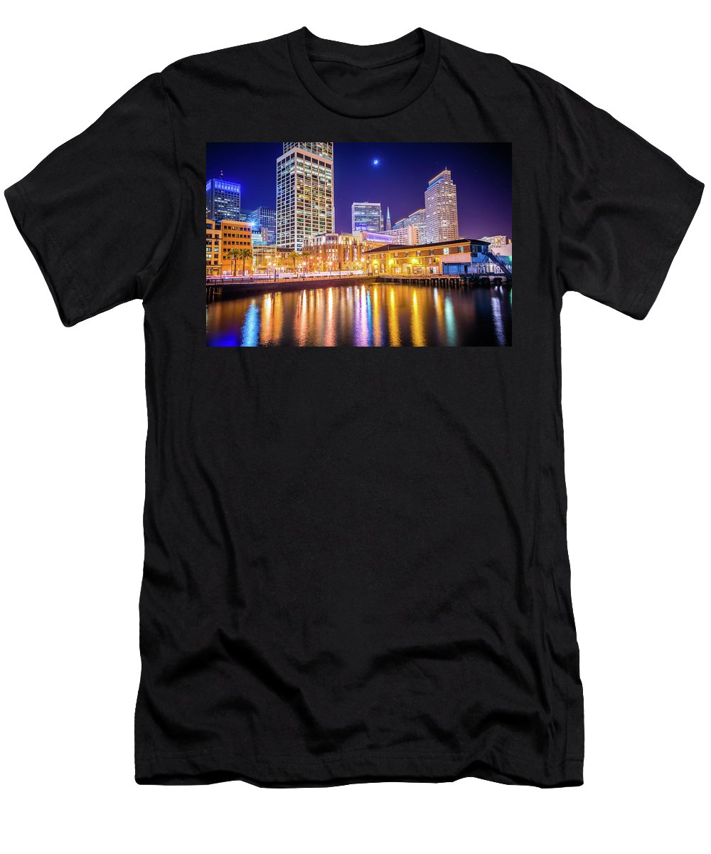 Night Men's T-Shirt (Athletic Fit) featuring the photograph San Francisco Downtown City Skyline At Night by Alex Grichenko