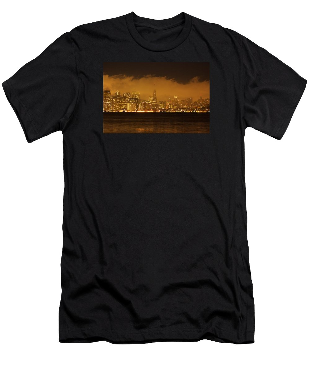 Sunrise Men's T-Shirt (Athletic Fit) featuring the photograph San Francisco Pyramid by Ydania Ogando