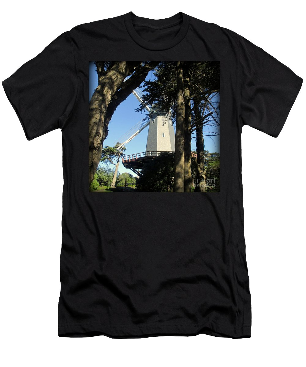 San Francisco Men's T-Shirt (Athletic Fit) featuring the photograph San Francisco Windmills by Joy Patzner