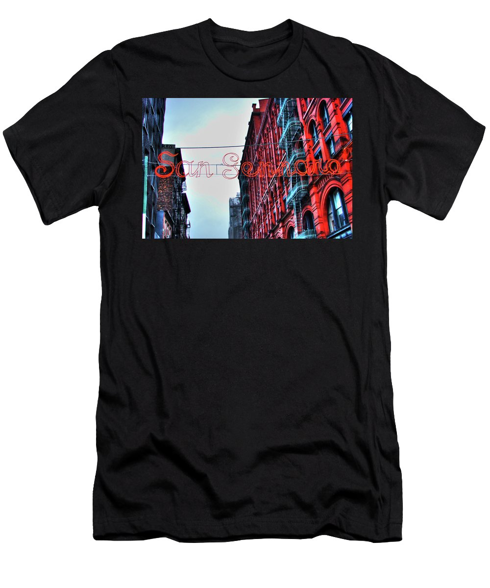 San Gennaro Festival Men's T-Shirt (Athletic Fit) featuring the photograph San Gennaro Festival Sign by Randy Aveille