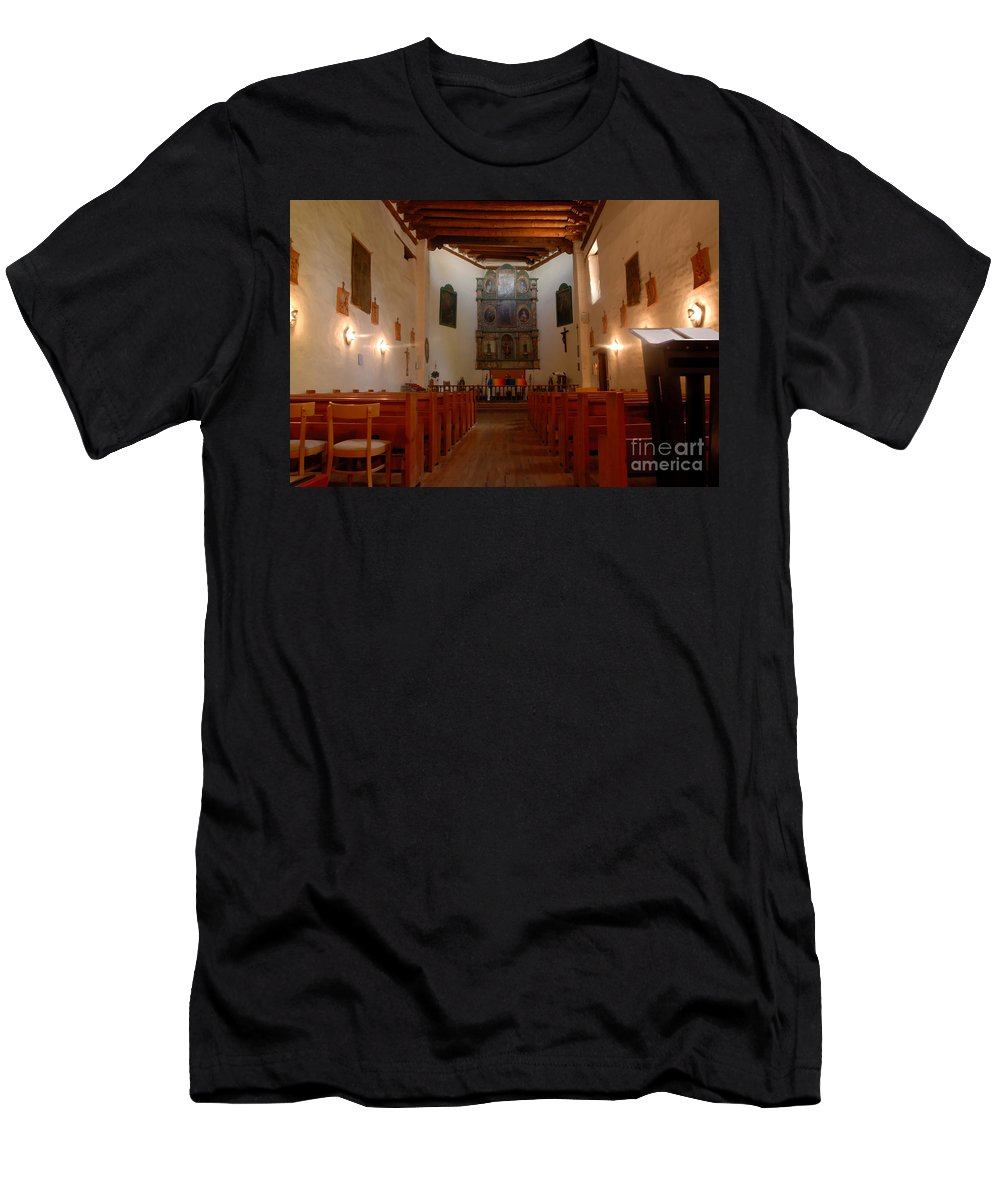 San Miguel Mission Men's T-Shirt (Athletic Fit) featuring the photograph San Miguel Mission Church by David Lee Thompson