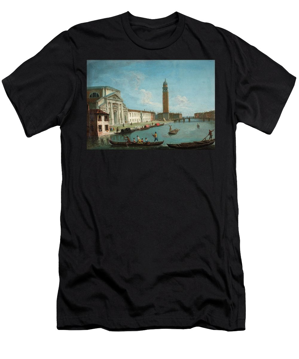 Johan (giovanni) Richter Men's T-Shirt (Athletic Fit) featuring the painting San Pietro Di Castello by MotionAge Designs