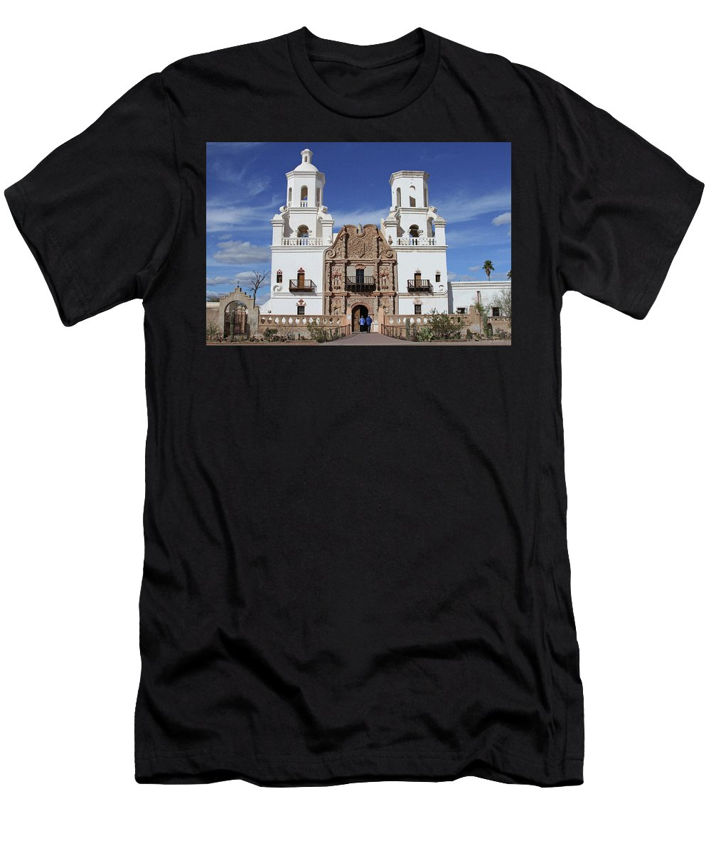 San Xavier Mission Tucson Arizona Men's T-Shirt (Athletic Fit) featuring the photograph San Xavier Mission Tucson Arizona by Tom Janca
