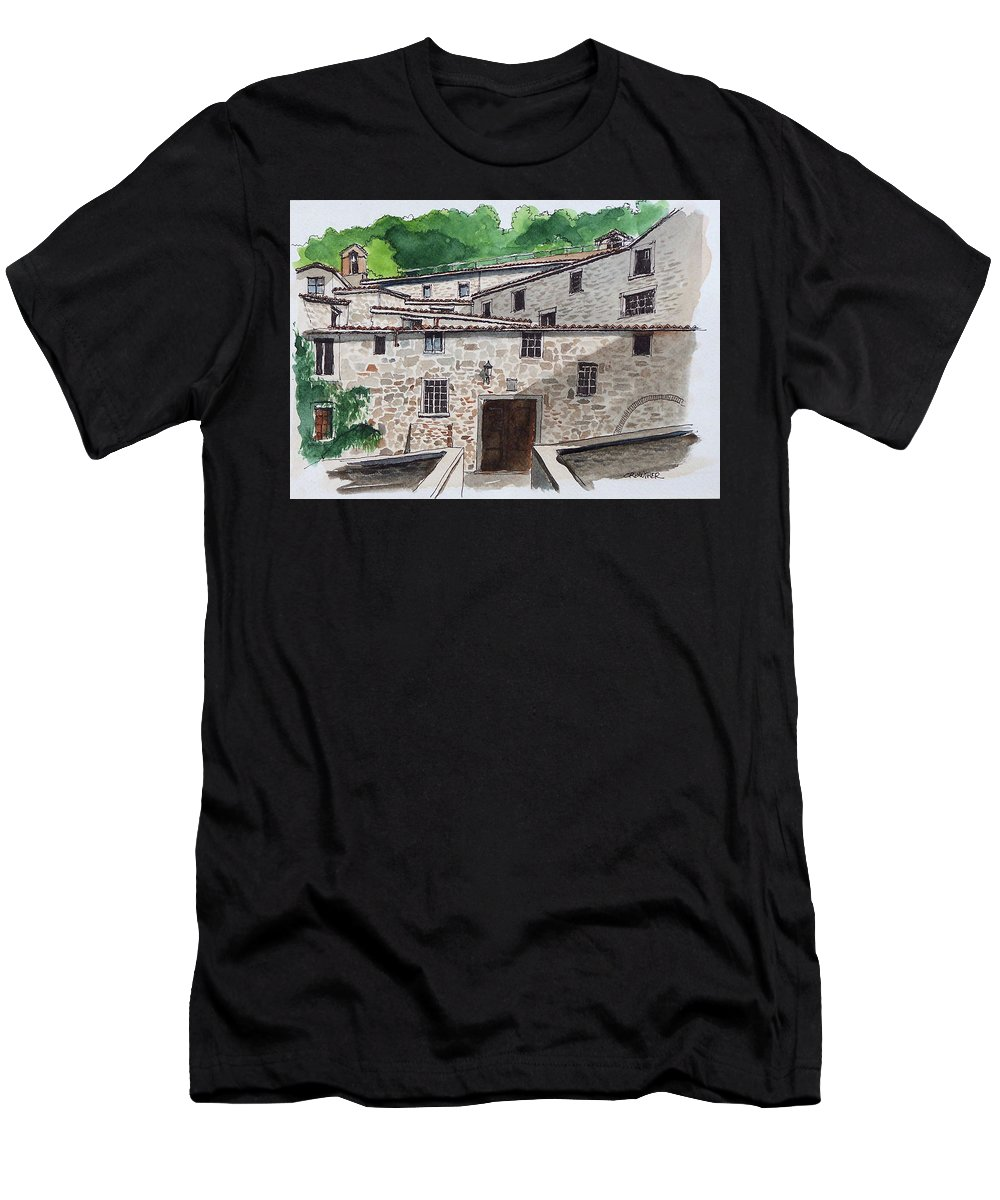 Tuscany Men's T-Shirt (Athletic Fit) featuring the painting Sanctuary Of St. Francis by John Crowther