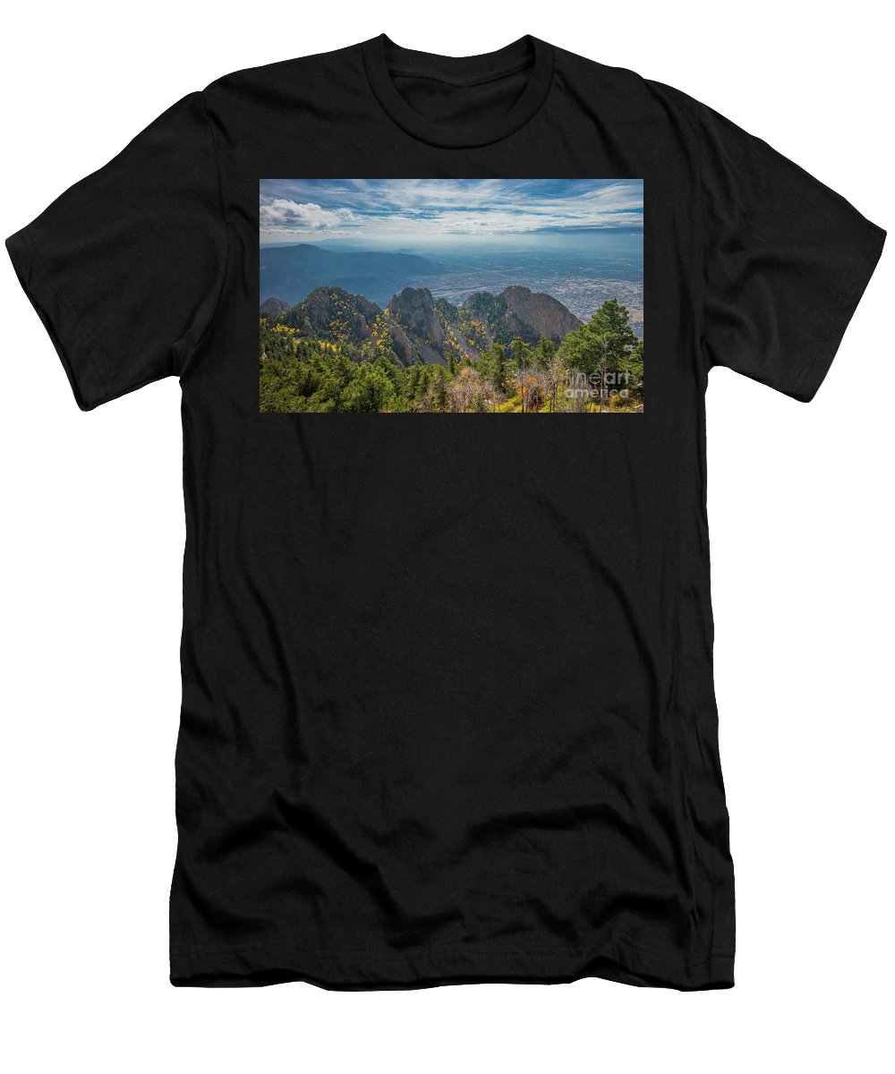 Albuquerque Men's T-Shirt (Athletic Fit) featuring the photograph Sandia Crest In Fall by Jennifer Sensiba