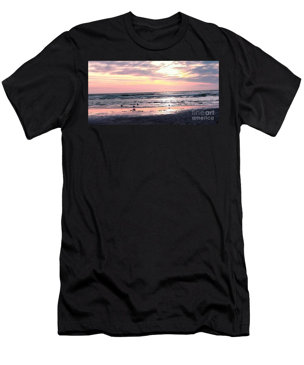 Sandpipers Men's T-Shirt (Athletic Fit) featuring the photograph Sandpipers At Old Silver by Christine Chepeleff