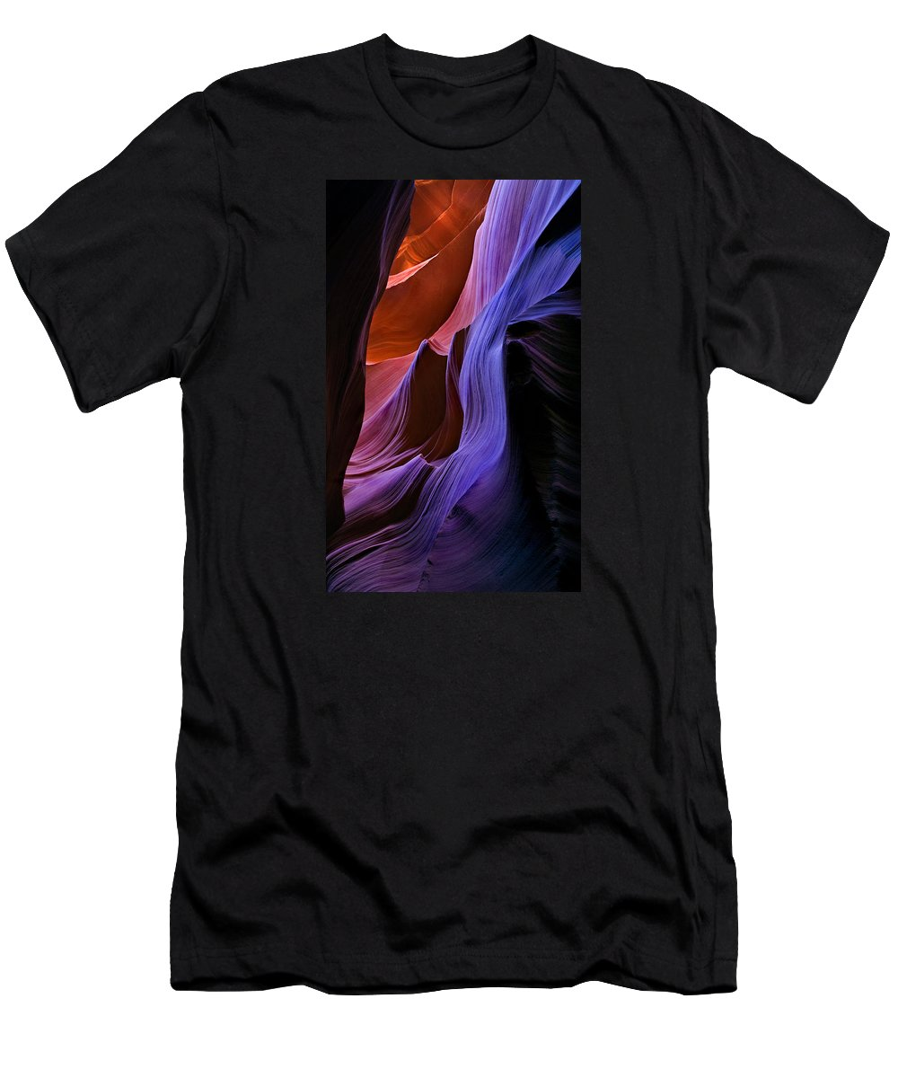 Sandstone Men's T-Shirt (Athletic Fit) featuring the photograph Sandstone Cascade by Mike Dawson