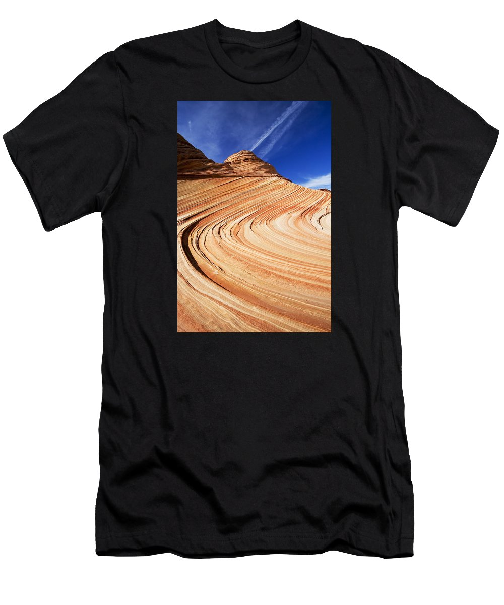The Wave Men's T-Shirt (Athletic Fit) featuring the photograph Sandstone Slide by Mike Dawson
