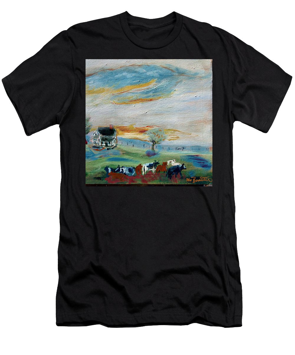 Country Men's T-Shirt (Athletic Fit) featuring the painting Sandy Ridge Cattle by Max Bowermeister
