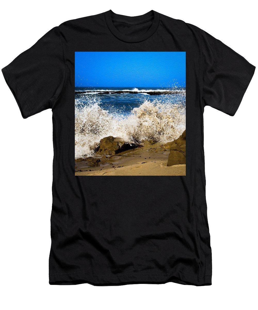 Bonnie Follett Men's T-Shirt (Athletic Fit) featuring the photograph Sandy Surf Splash by Bonnie Follett
