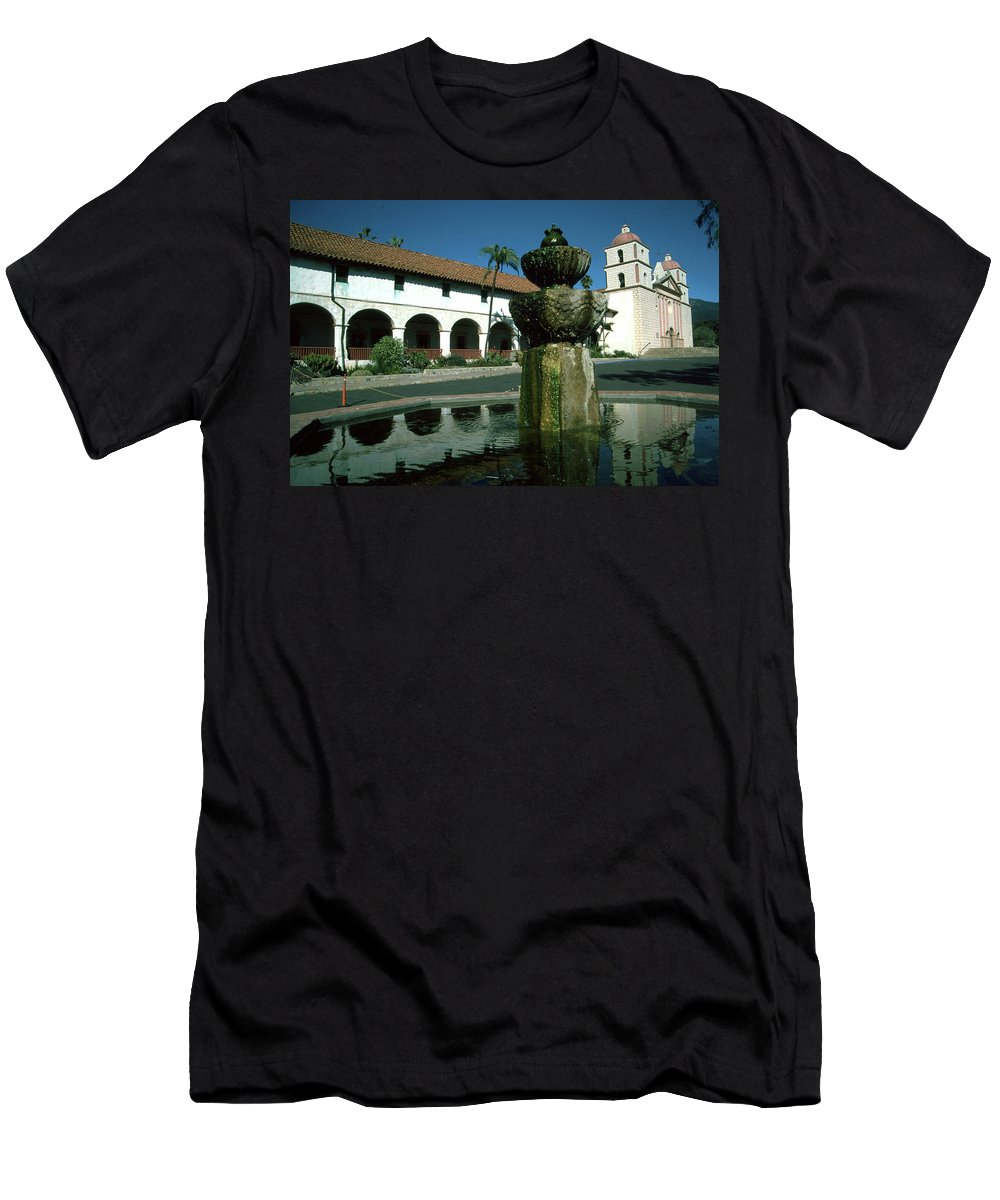 Mission Men's T-Shirt (Athletic Fit) featuring the photograph Santa Barbara Mission by JOANNE McCubrey