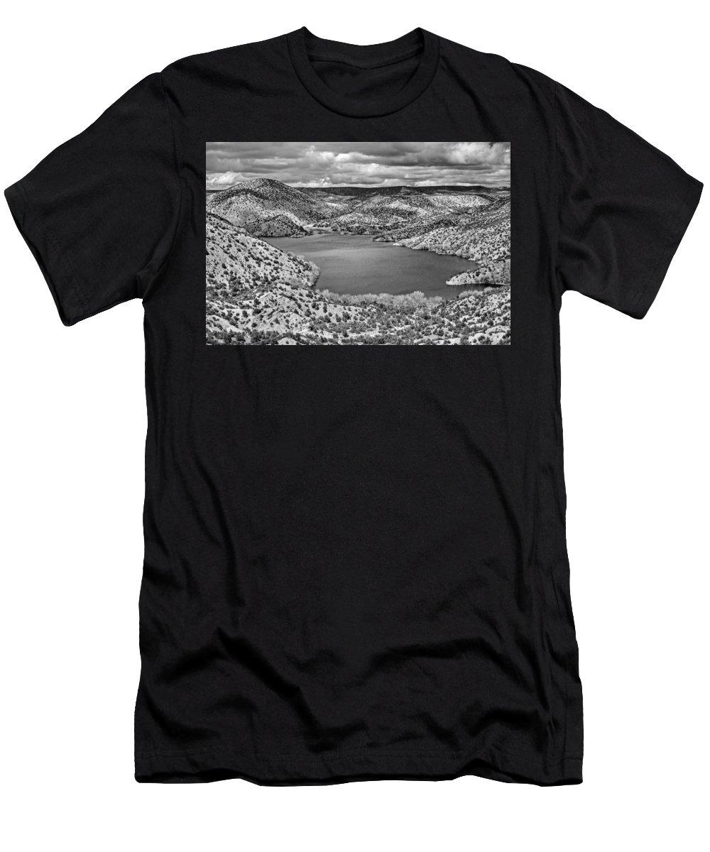 Santa Men's T-Shirt (Athletic Fit) featuring the photograph Santa Cruz Lake, New Mexico, April 18, 2016 by Mark Goebel