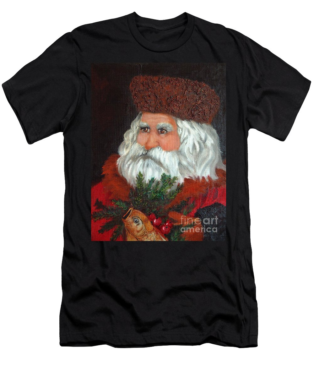 Santa Men's T-Shirt (Athletic Fit) featuring the painting Santa by Portraits By NC
